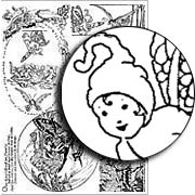 B&W Fairy Illustrations Collage Sheet