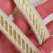 Gold Metallic Jacquard Ribbon - Rope