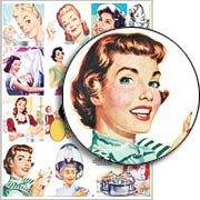 Happy Vintage Housewives Collage Sheet