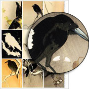 Woodblock Print Ravens Collage Sheet
