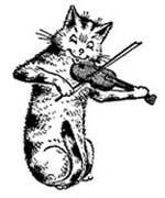 Small Cat & the Fiddle Rubber Stamp