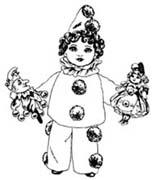 Child Pierrot Rubber Stamp