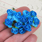 1/2 Inch Bright Blue Paper Roses*