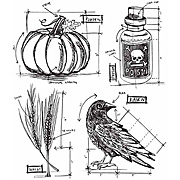 Tim Holtz Halloween Blueprints Cling Stamp Set
