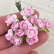 1/2 Inch Bright Pink Paper Roses*