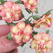 1 Inch Curly Paper Roses - Variegated Yellow Pink