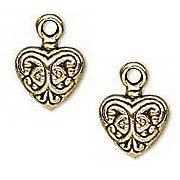 Antique Gold Fancy Heart Charms