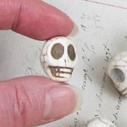 Large White Turquoise Skull Beads*