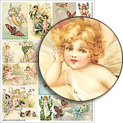 Vintage Postcard Fairies Collage Sheet