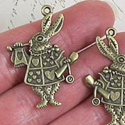 Antique Bronze White Rabbit Charm*