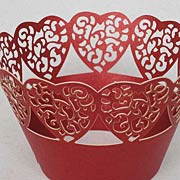 Die-Cut Red Lacy Heart Wraps*