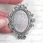 Large Antique Silver Oval Setting