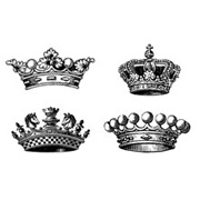 4 Small Crowns Rubber Stamp Set