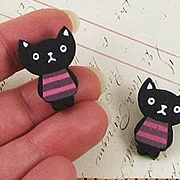 Black Cat with Stripes Buttons*