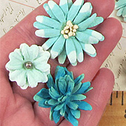 Mulberry Mini Flower Mix - Teastained Teal