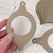 Round Chipboard Teardrop Ornaments with Windows*