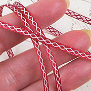 Narrow Red Diamond Stitched Ribbon