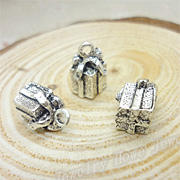 Tiny Silver 3D Gift Box Charms**