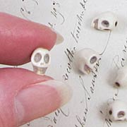 Tiny White Turquoise Skull Beads