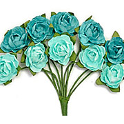 Turquoise Blue Mini Paper Blooms*